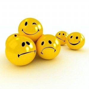 люди в виде шаров, имеющие негативное и позитивное представление о жизни