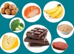 шоколад, бананы, орехи, сыр, каша, брокколи, постное мясо, рыба и рис