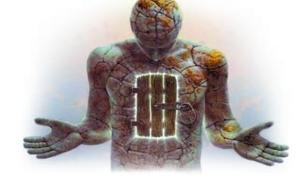 человек и дверь в теле